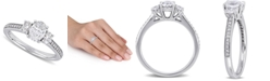 Macy's Diamond Oval Three Stone Engagement Ring (1-1/10 ct. t.w.) in 14k White Gold